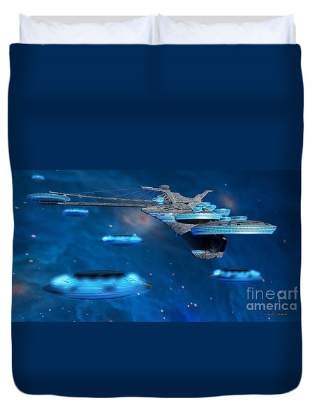 Blue Nebula Expanse Duvet Cover by Corey Ford