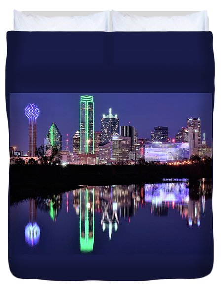 Duvet Cover featuring the photograph Blue Night And Reflections In Dallas by Frozen in Time Fine Art Photography