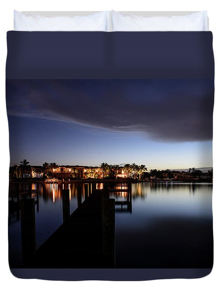 Duvet Cover featuring the photograph Blue Night by Laura Fasulo