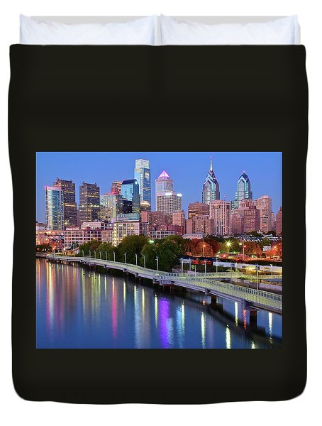 Duvet Cover featuring the photograph Blue Night Lights In Philly by Frozen in Time Fine Art Photography