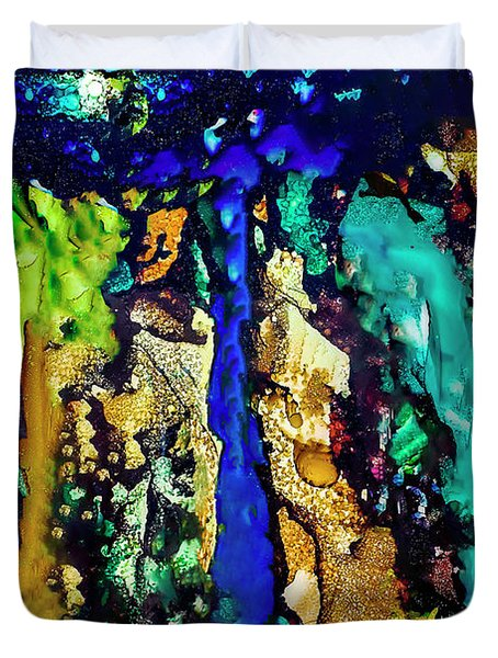 Duvet Cover featuring the painting Blue Night Waterfall by Melinda Ledsome