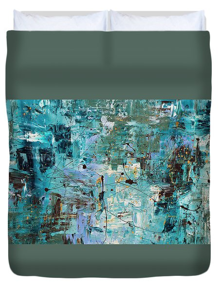 Duvet Cover featuring the painting Blue Ocean - Abstract Art by Carmen Guedez