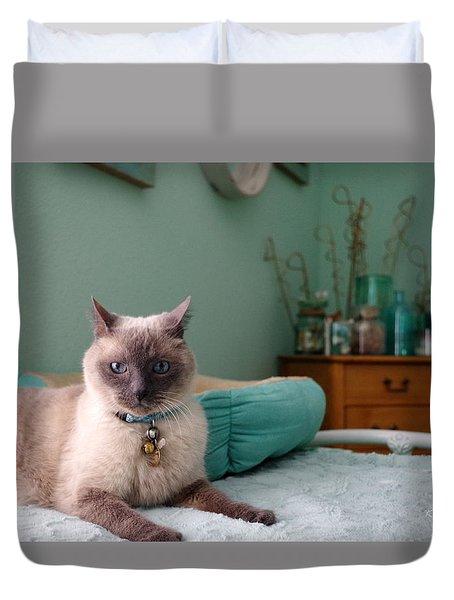 Blue On Bed Duvet Cover
