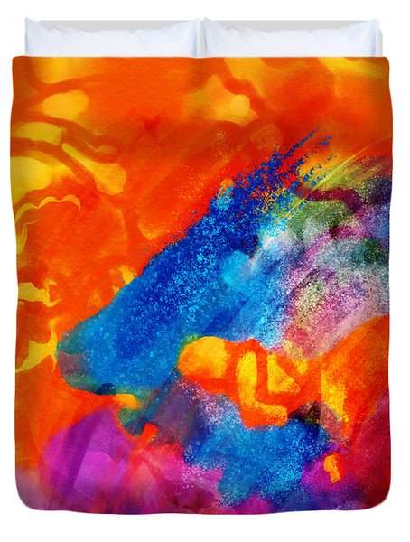 Blue On Orange Duvet Cover