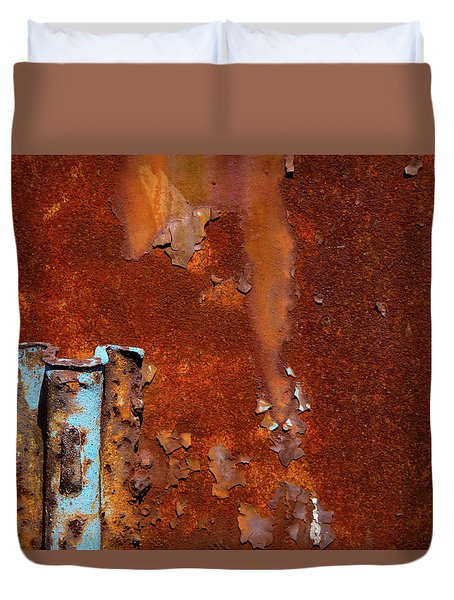 Duvet Cover featuring the photograph Blue On Rust by Karol Livote