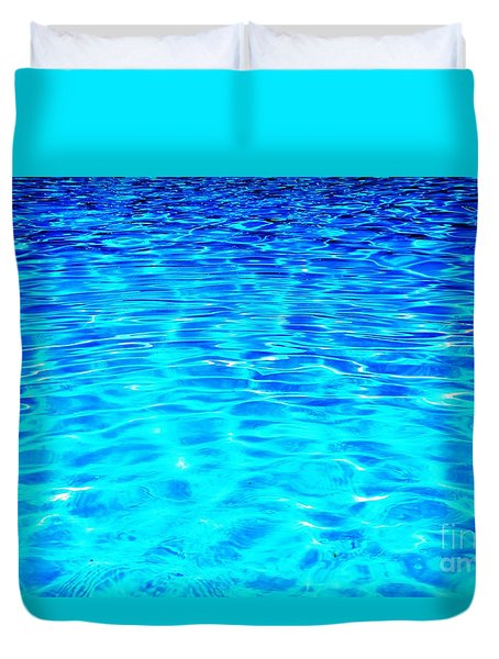 Duvet Cover featuring the photograph Blue Or Green by Ramona Matei