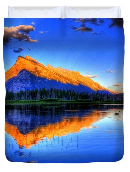 Duvet Cover featuring the photograph Blue Orange Mountain by Test Testerton