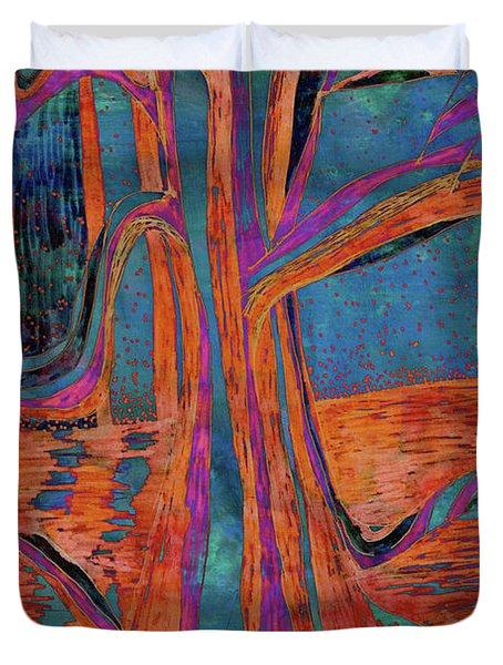 Blue-orange Warm Dusk River Tree Duvet Cover