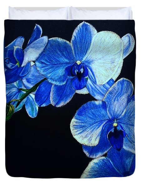 Blue Orchid - Electric-blue Phalaenopsis Duvet Cover by Anita Putman