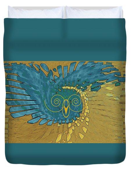 Duvet Cover featuring the digital art Abstract Blue Owl by Ben and Raisa Gertsberg