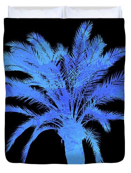 Blue Palm Tree Duvet Cover by Andrea Mazzocchetti