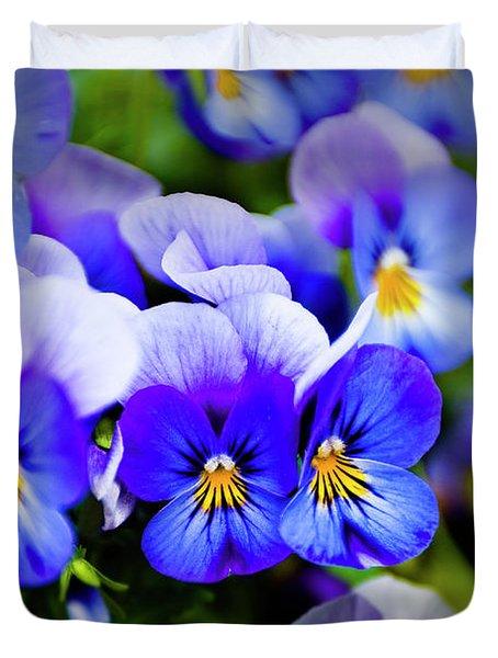 Blue Pansies Duvet Cover by Tamyra Ayles