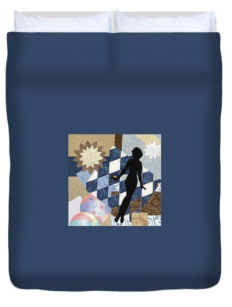 Blue Paper Doll Duvet Cover