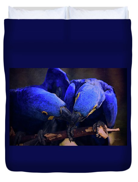 Blue Parrots Duvet Cover