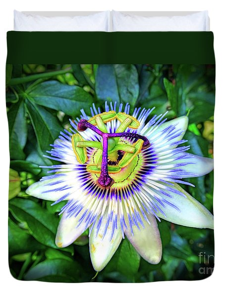Blue Passion Flower Duvet Cover