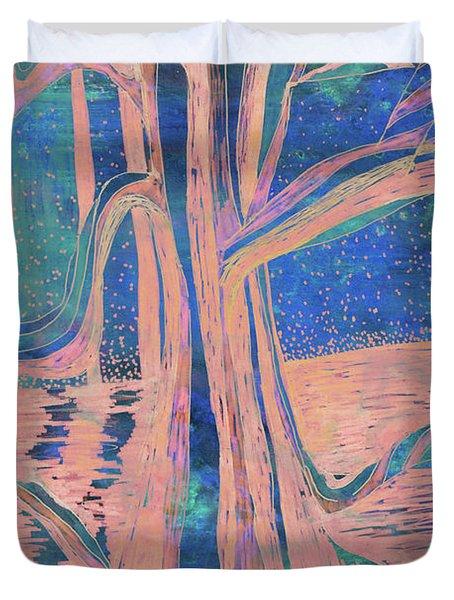 Blue-peach Dawn River Tree Duvet Cover