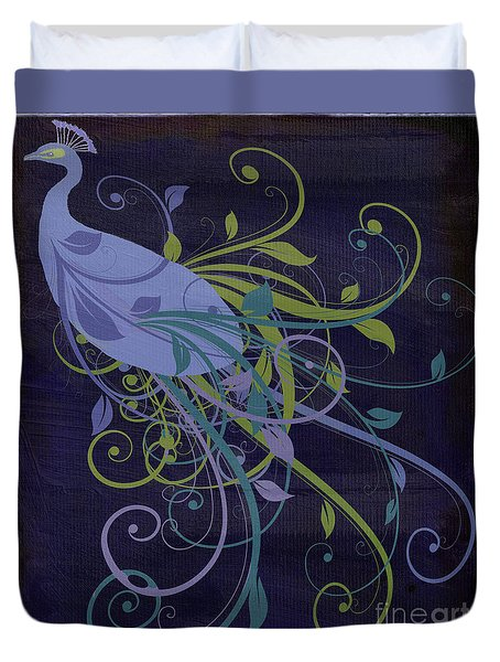 Blue Peacock Art Nouveau Duvet Cover