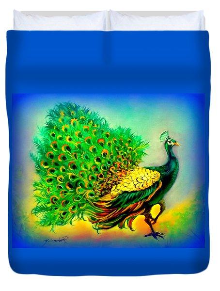 Blue Peacock Duvet Cover by Yolanda Rodriguez
