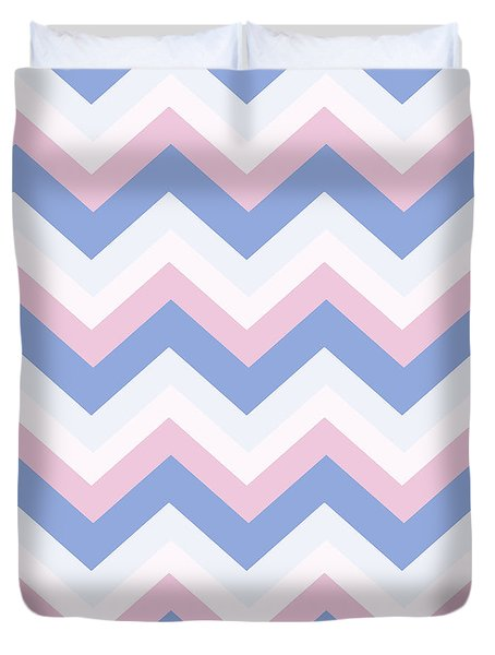 Blue Pink Chevron Pattern Duvet Cover