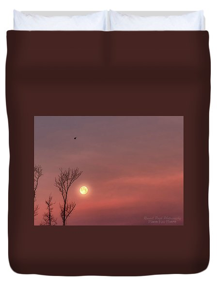 Duvet Cover featuring the photograph Blue Pink Moon by Russell Pugh