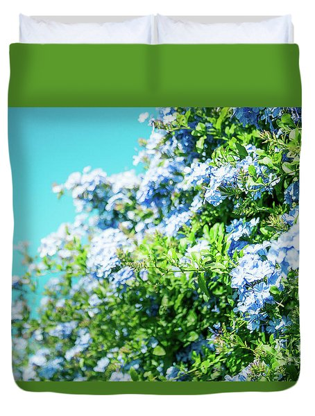 Blue Plumbago Maui Hawaii Duvet Cover by Sharon Mau