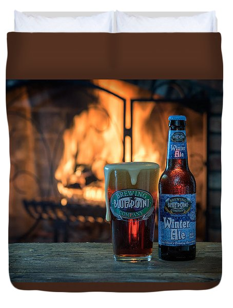 Blue Point Winter Ale By The Fire Duvet Cover by Rick Berk