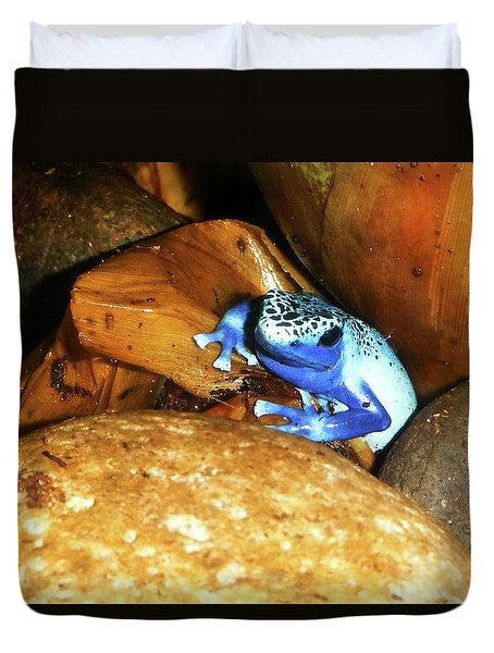 Duvet Cover featuring the photograph Blue Poison Dart Frog by Anthony Jones