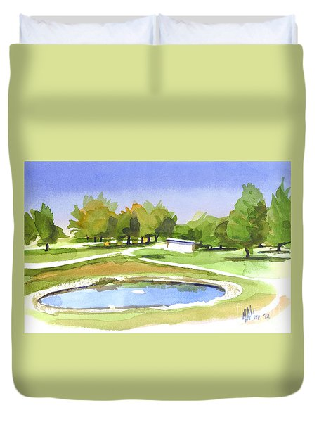 Duvet Cover featuring the painting Blue Pond At The A V Country Club by Kip DeVore