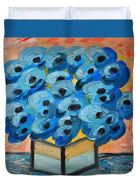 Blue Poppies In Square Vase  Duvet Cover