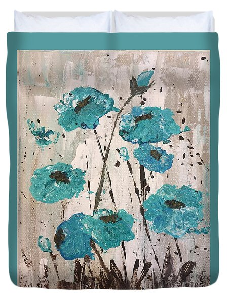 Duvet Cover featuring the painting Blue Poppies by Lucia Grilletto
