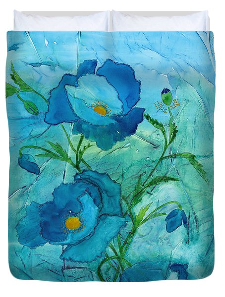 Blue Poppies, Watercolor On Yupo Duvet Cover