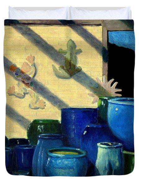Blue Pots Duvet Cover