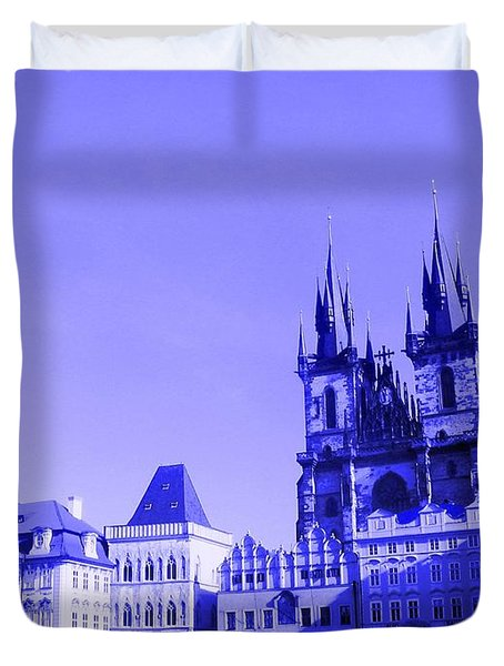 Duvet Cover featuring the photograph Blue Praha by Michelle Dallocchio