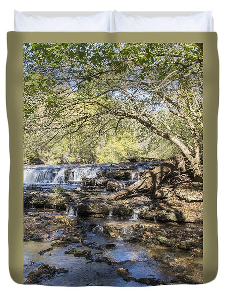 Blue Puddle Falls Duvet Cover by Ricky Dean