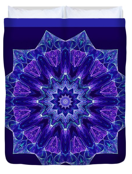 Blue And Purple Mandala Fractal Duvet Cover