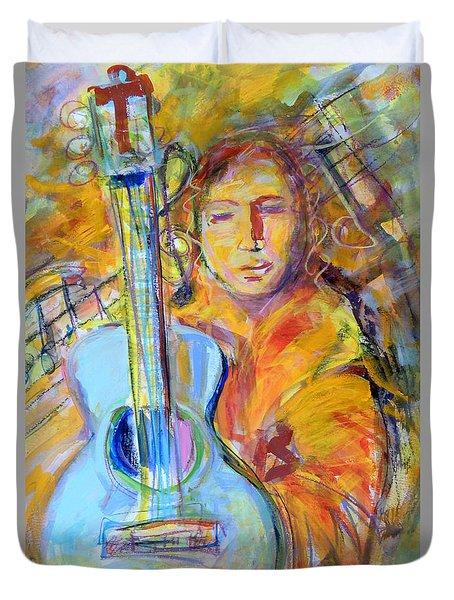 Blue Quitar Duvet Cover by Mary Schiros