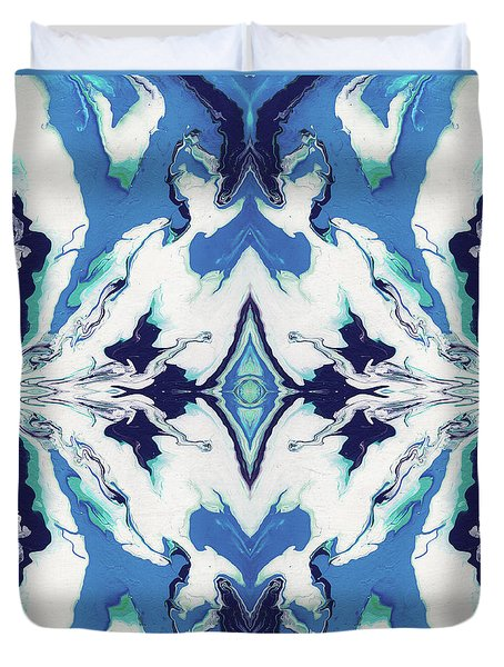 Duvet Cover featuring the painting Blue Rhapsody Double- Art By Linda Woods by Linda Woods