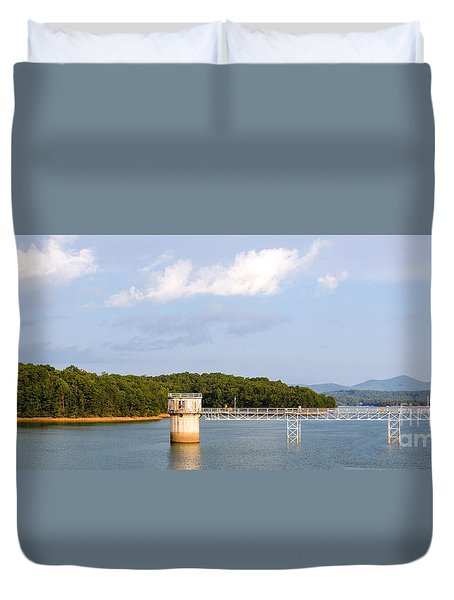 Duvet Cover featuring the photograph Blue Ridge Dam by Michael Waters