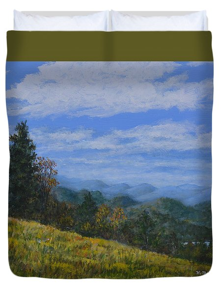 Duvet Cover featuring the painting Blue Ridge Impression by Kathleen McDermott