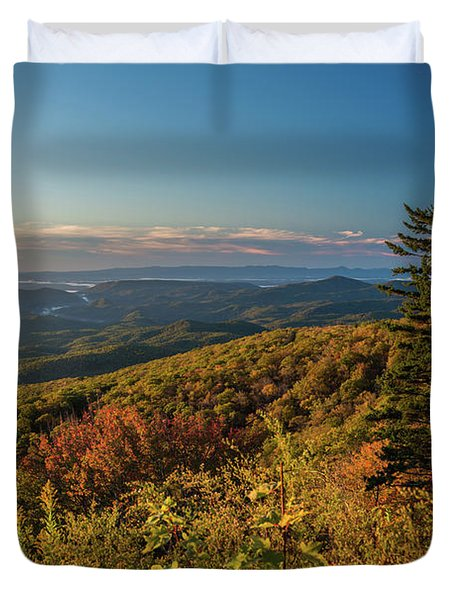 Blue Ridge Mountain Autumn Vista Duvet Cover