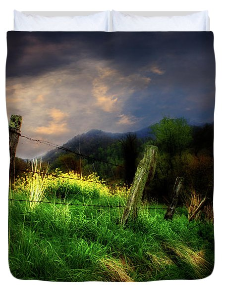 Blue Ridge Mountain Country Road Duvet Cover by Gray  Artus