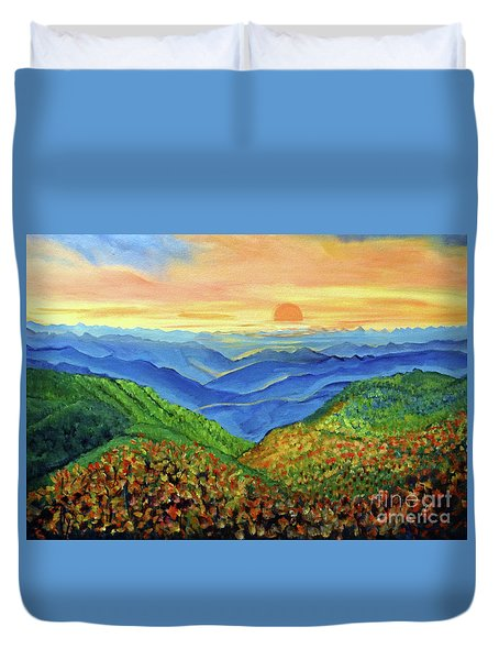 Duvet Cover featuring the painting Blue Ridge Mountain Morn by Ecinja Art Works