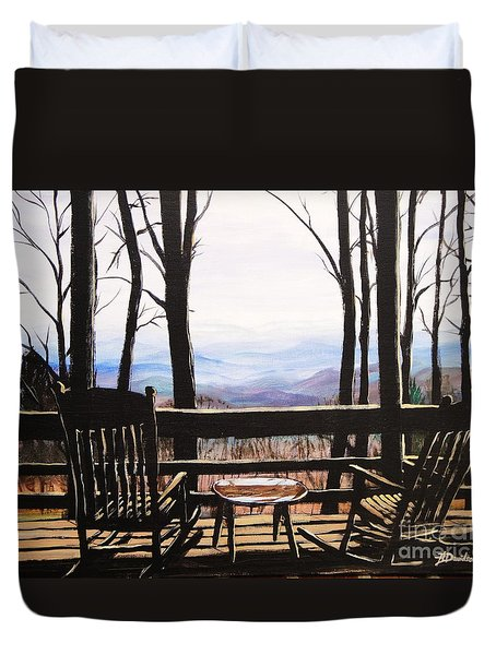 Duvet Cover featuring the painting Blue Ridge Mountain Porch View by Patricia L Davidson