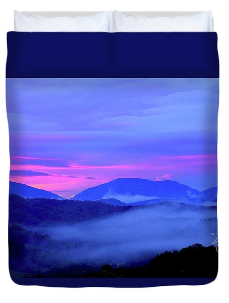 Blue Ridge Mountains Sunset Duvet Cover