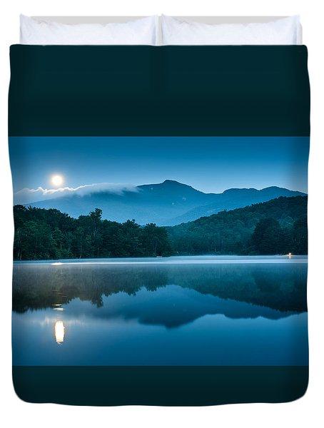 Blue Ridge North Carolina Full Moon Mountain Reflections Duvet Cover