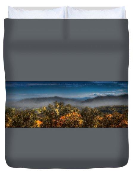 Duvet Cover featuring the photograph Blue Ridge Panorama by Ellen Heaverlo