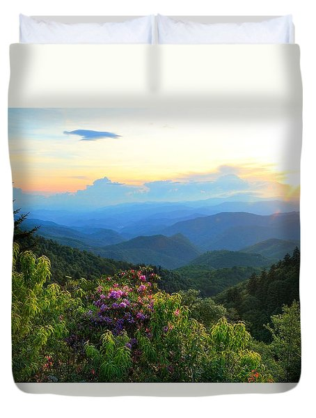 Blue Ridge Parkway And Rhododendron  Duvet Cover