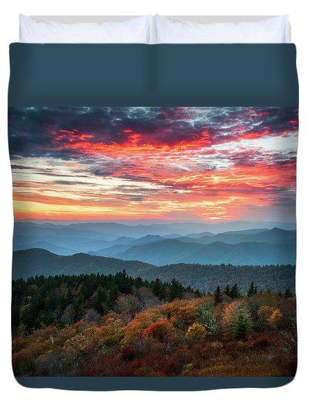 Blue Ridge Parkway Autumn Sunset Scenic Landscape Asheville Nc Duvet Cover