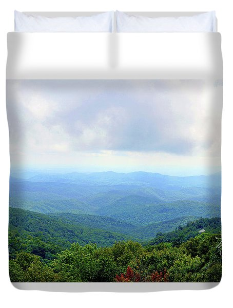 Duvet Cover featuring the photograph Blue Ridge Parkway Overlook by Meta Gatschenberger