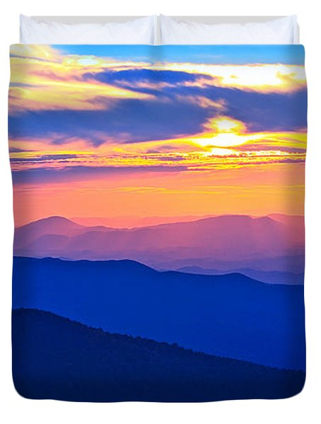 Blue Ridge Parkway Sunset, Va Duvet Cover